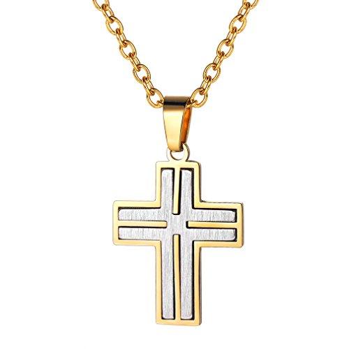 FaithHeart Cruz Collar Acero Inoxidable Plateado/Dorado/Negro para Hombres y Mujeres Cadena Ajustable Joyería Religiosa de Regalo Maravilloso