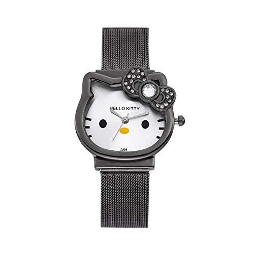 CXJC La nueva banda de acero de dibujos animados de gatito, reloj para estudiantes, reloj de cuarzo, acero inoxidable, cuatro colores disponibles. (Color : Negro)