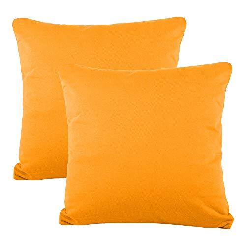 CelinaTex BeNature Kissenbezug Doppelpack 40 x 40 cm orange Baumwolle Dekokissen Bezug Jersey