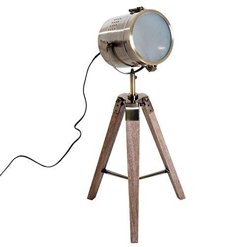 HOMCOM Vintage Tripod Table Desk Lamp Bedside Light Spotlight Brass Antique Searchlight Wooden Base