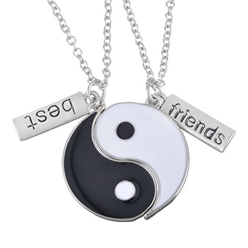 MJartoria BFF Necklace for 2, Best Friend Necklace Set Yin Yang Pendant Black and White Enameled Split Taoism Culture