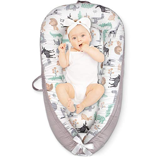 Cosy Nation Baby Lounger, Baby Nest for Co Sleeping, Ultra Soft Breathable, Waterproof Insert, Newborn Lounger for Crib & Bassinet, Perfect for Traveling and Napping, Gift for Newborn(Animal)