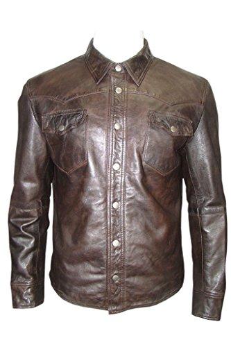 Infinity Gorro de Estilo Informal de Cuero marrón Estilo de la Camisa del Dril de algodón de la Chaqueta de los Hombres 5XL