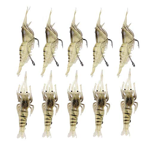 Cikuso 10 Pcs Simulation de Pêche a La Crevette Crochet de Leurre Doux pour Crevette Attirail Leurres de Pêche de Mer D'Appats