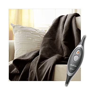 Sunbeam Velvet Soft Plush Heated Throw Blanket Various Colors Size: 50  x 60  3 Heat Setting Remote Control Auto Off (Walnut Brown)