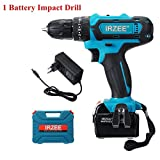 TuToy 26V Impact Drill Cordless Electric Drill 25+3 Stage Lithium Power Drills Drilling Tool - Une batterie
