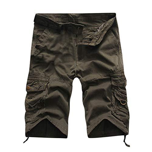 TWISFER Herren Kurze Hose Shorts Arbeitshose Bundhose ohne Gürtel Vintage Kurze Hose Sommer Cargo Shorts Sport Outdoor Arbeitshosen Freizeithose 1/2 Bermuda