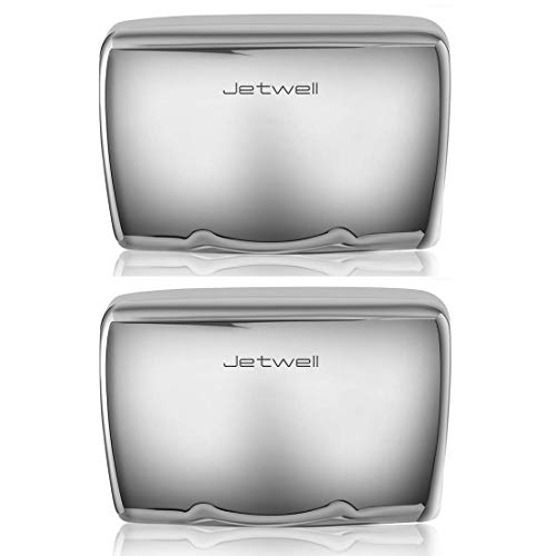 JETWELL 2Pack High Speed Commercial Automatic Hand Dryer - Heavy Duty Stainless Steel - Warm Wind Hand Blower (Polished Stainless Steel)
