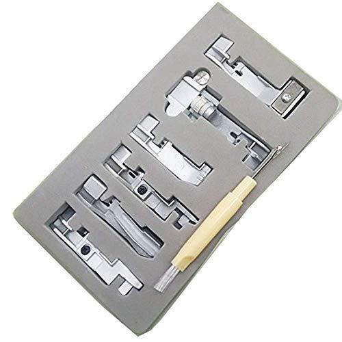 YICBOR - Juego de 6 prensatelas de serger para Singer 14CG754 14SH654 14SH754 14hd854 juki 644D, 04D con cortapelos para cepillo de regalo