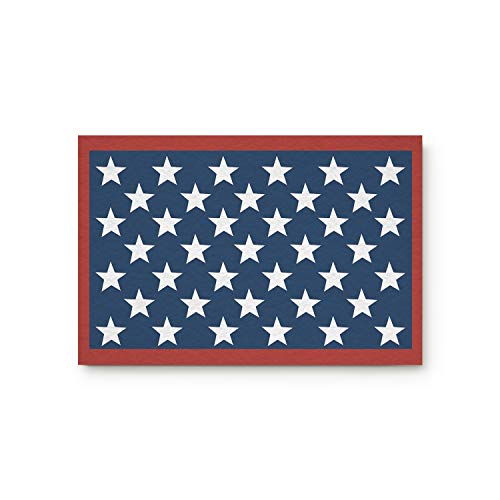 Olivefox Funny Waterproof Bathroom Doormat Home Decor Welcome Large Mat Entrance Way Indoor/Outdoor Carpet Toilet Floor Area Rugs, Red White and Blue Patriotic Flag Stars - 30x18 Inch