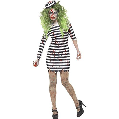 Amakando Sträflingskostüm Damen - XS (30/32) - Sträfling Damenkostüm Horrorkostüm Gefangene Häftling Verkleidung Frauen Walking Dead Kostüm Untote Halloween Kostüm Zombie