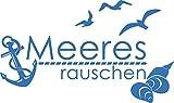 GRAZDesign Fliesentattoo Meeresrauschen - Badezimmer Tattoos maritim mit Anker & Muscheln - Wandtattoo Möwen / 51x30cm / 650278_30_053