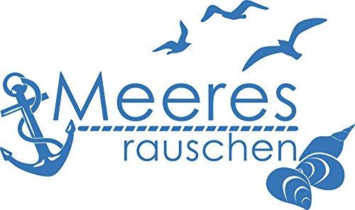 GRAZDesign Fliesentattoo Meeresrauschen - Badezimmer Tattoos maritim mit Anker und Muscheln - Wandtattoo Möwen / 51x30cm / 650278_30_053