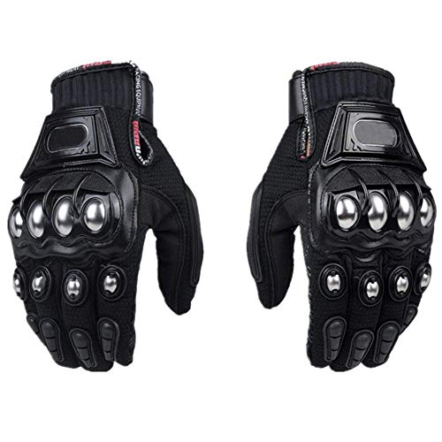 Steel Outdoor Reinforced Brass Knuckle Motorcycle Motorbike Powersports Racing Textile Safety Gloves … (X-Large, Black)