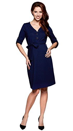 Be Mama Maternity & Baby wear Robe d'allaitement 2 en 1 en coton cousu à la main - Bleu - 44/46