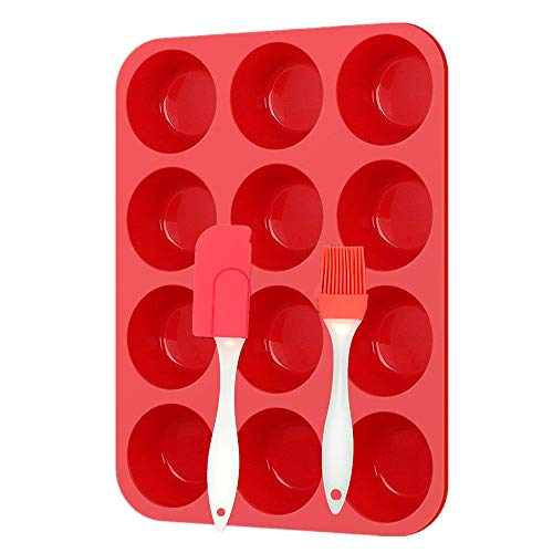 12 Cup Silicone Muffin Pan and Spatula for Muffin Tins, Non-stick Silicone Cupcake Baking Cups, Egg Baking Molds