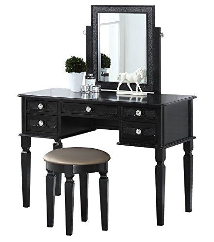 Bobkona Vanity Table With Stool Set, Galaxy Black
