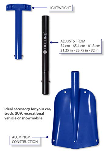 Lifeline Aluminum Sport Utility Shovel, 3 Piece Collapsible Design, Perfect Snow Shovel for Car, Camping and Other Outdoor Activities, Blue