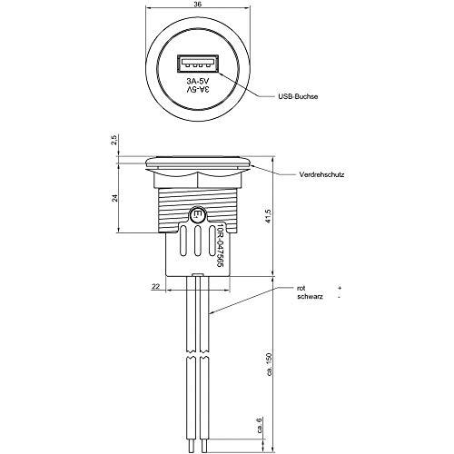 ProCar Power USB Einbausteckdose Belastbarkeit Strom max.=3A Passend für (Details) USB-A