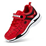 Toddler Velcro Non Slip Lightweight Cartoon Sneakers Shoes for Basketabll Football/Soccer School Jumping Volleyball Traveling Fitness Outdoor Sports Shoes US Size 10 Red 28