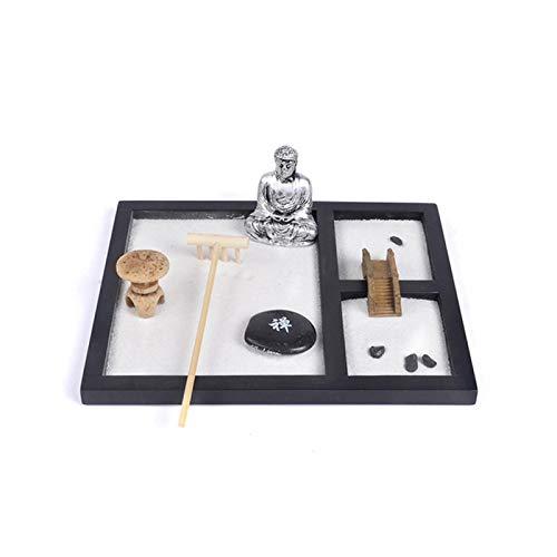 HilMe - Jardín de arena Zen con base de madera, arena blanca, piedra zen, estatua de Buda meditadora, rastrillo de bambú, etc. Mini kit de jardín de arena Zen – regalo de meditación