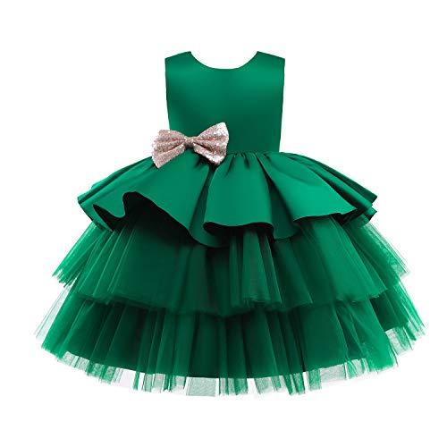 TTYAOVO Niña Tul Fiesta de Cumpleaños Princesa Tutú Lentejuelas Arco Vestido de Baile Talla (110) 3-4 años 730 Verde