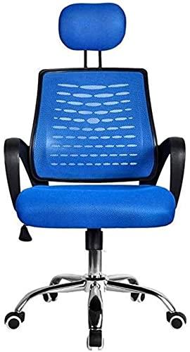 JYHZ Stuhl, Office lebende exekutive rütteln Home Office Stuhl, ergonomisches Design Verstellbarer Kopfstütze Rotation dauerhafter Arbeitsstuhl, Bürostuhl (Color : Blue)
