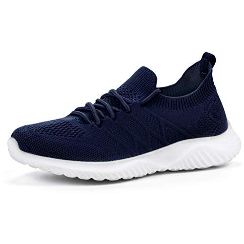 AKK Womens Sneakers Slip on Shoes Comfy Sock Tennis Work Non Slip Workout Running bagivy kuru granteva Shoe Navy Size 8