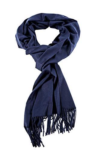 AMINA Einfarbiger Luxus Pashmina Damen Schal mit Cashmerefeeling superweich (Marine Blau)