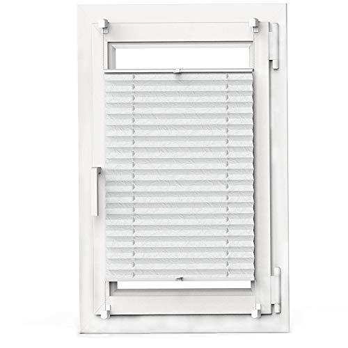 OBdeco Plissee Rollo Klemmfix ohner Bohren lichtdurchlässig Crushed Optik Faltrollo für Fenster Easyfix Weiß 75x130cm