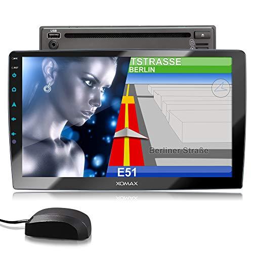 XOMAX XM-2DN1005 Autoradio mit DVD, CD, 10,1 Zoll / 25,7cm Touchscreen Bildschirm, Mirrorlink, GPS Navigation, Navi Software, Bluetooth Freisprecheinrichtung, RDS, SD USB, 2 DIN
