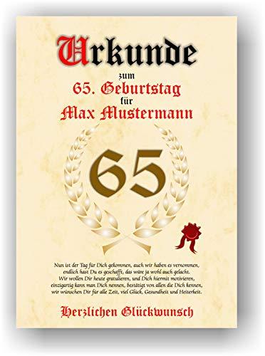 Urkunde zum 65. Geburtstag - Glückwunsch Geschenkurkunde personalisiertes Geschenk mit Name Gedicht und Spruch Karte Präsent Geschenkidee Mann Frau DIN A4