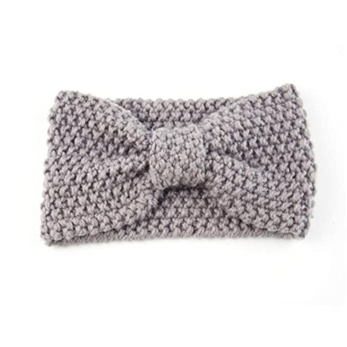 Mädchen gestrickt Stirnband Bogen Häkeln Elastische Haarband Winter Ohrwärmer Für Kinder Grau Stil1