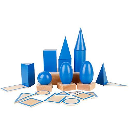 ZZKOKO Large 3D Shapes Geometric Solids Wooden Montessori Toys Math