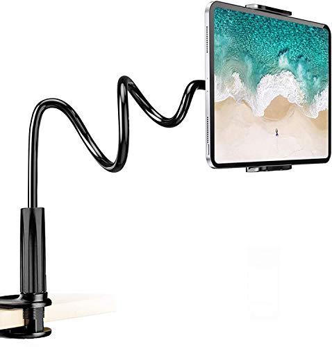 Lumanby Soporte flexible de cuello de cisne de 360 ° para tableta, soporte de escritorio flexible y ajustable con clip de brazo largo para teléfono o tableta de 3,5 a 10,5 pulgadas, 1 unidad (negro)