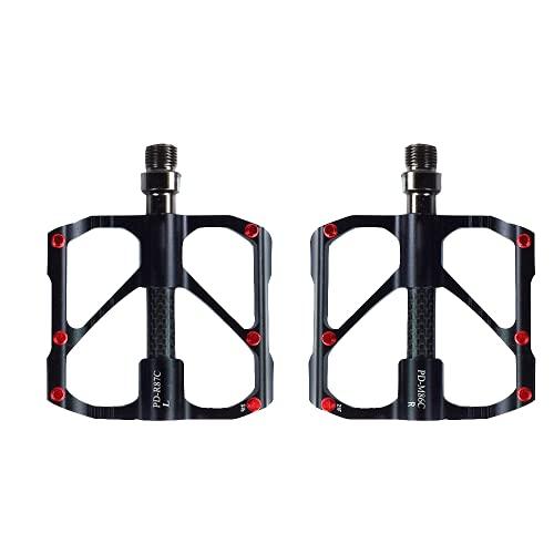 ROADNADO 3 Bearing Mountain Bike Pedal, Aluminum Alloy Pedal Bike Pedal Carbon Shaft Wrap, Lightweight Double-sided Stepping Non-Slip Cycling MTB Road Bike Left &Right Set(Black)