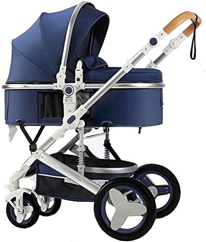 Cochecito ligero, shotchair con estilo, cochecito de bebé plegable con posición de mentira, capucha ajustable grande, buggy de viaje compacto, arnés de cinco puntos, ideal para avión (Color : Blue)