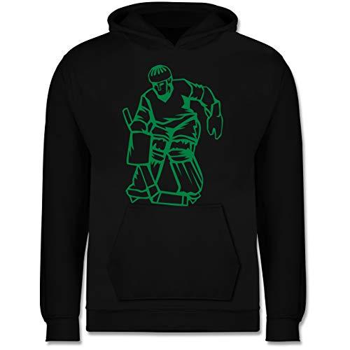 Sport Kind - Eishockeyspieler grün - 152 (12/13 Jahre) - Schwarz - Eishockey Torwart - JH001K JH001J Just Hoods Kids Hoodie - Kinder Hoodie