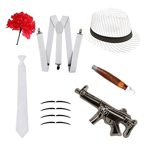 Robelli Disfraz gángster Set - Sombrero Trilby, Corbata, Tirantes, Puro, Bigotes & Clavel - Blanco, One Size