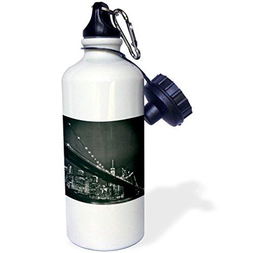 3dRose wb_219800_1 Trinkflasche, Motiv New York Scene of The Brooklyn Bridge und Manhattan Skyline bei Nacht, 53,3 ml, mehrfarbig