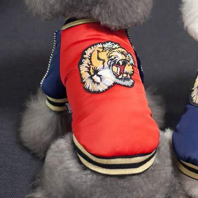 DZSHYXGW Design Huisdier Tijger Kostuum Winter Puppy Kleding Sport Kleine Hond Jas En Jas Voor Pug Bulldog Poedel Dachshund Rood Blauw M - 2Xl, XXL, Rood