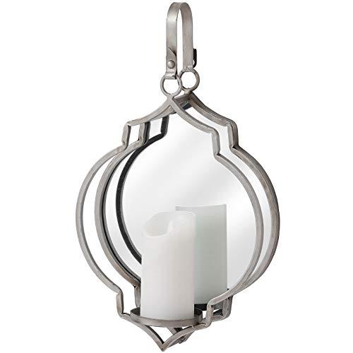 LHI Argento Massiccio Effetto Anticato Moderno Portacandele da Parete, W Specchio da Parete, 47.5cm