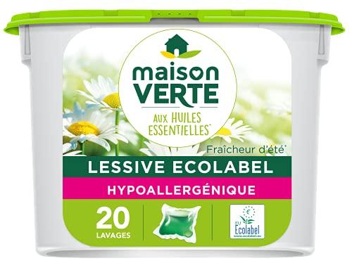 MAISON VERTE - Lessive Caspules aux Huiles Essentielles BIO   Fraîcheur d'Été   Hypoallergénique...