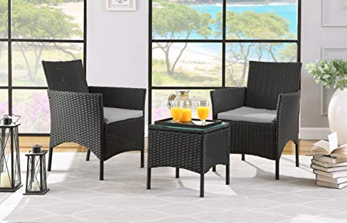 SALBAY Rattan Garden Furniture Set 3 Patio Conservatory Indoor Outdoor Coffee Table and 2 Single Chairs (Black)