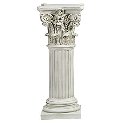 Design Toscano Athena Corinthian Furniture Pedestal Column Plant Stand, 33 Inch, Polyresin, Antique Stone