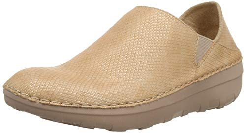 FitFlop Womens Superloafer Shimmersnake Slip On Shoes, Nude, US 6.5