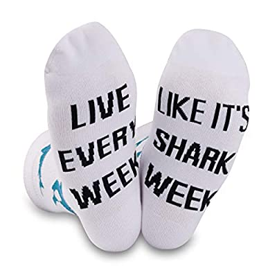 Shark Gifts Shark Stuff Diver Gifts Shark Lovers Gift Novelty Shark Socks Live Every Week Like It's Shark Week