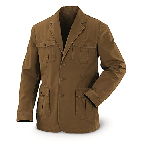 Guide Gear Sportsman's Field Jacket, Military Jackets for Men In Canvas Cotton, British Khaki, 2XL