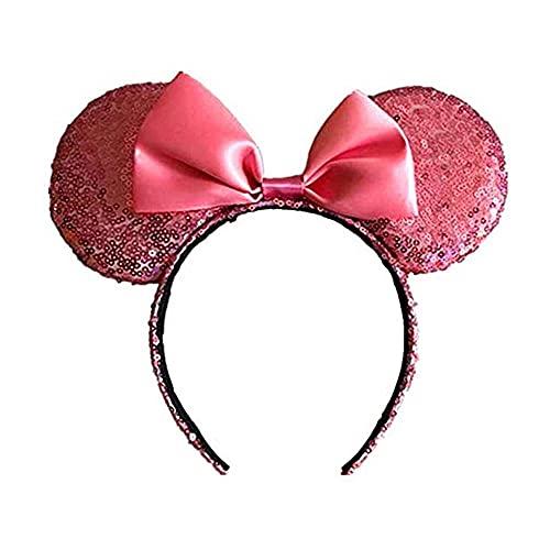 zhaita Minnie Mouse Ear Diademas, orejas de ratón para niñas, disfraz de cosplay para mujer, Pink, Bronce,