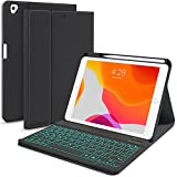 iPad 8th/7th Generation Keyboard Case 10.2 inch 2020/2018, iPad Pro 10.5-inch Case with Keyboard for iPad Air 3 2019, Removable Bluetooth Wireless Keyboard Folio Case, Auto-Wake/Sleep Cover(Black)